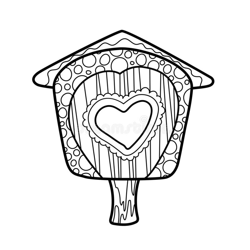 Bird house coloring ornament vector illustration on white background. Birdhouse with heart coloring card template stock illustration