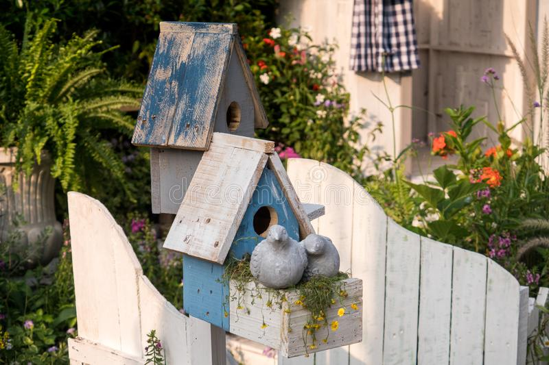 Bird house in garden. Make from wood royalty free stock photos