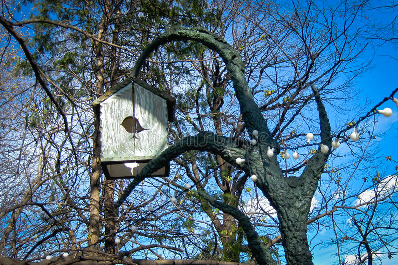 Bird house. (nesting box) in the park stock image