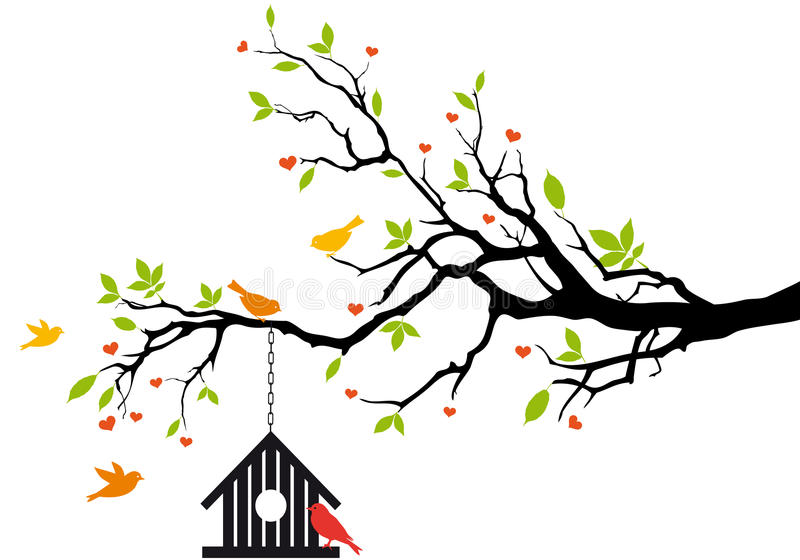 Bird house on spring tree, royalty free illustration