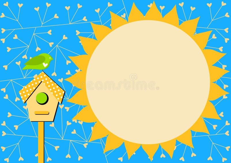 Bird house and Sun Invitation Card stock photography