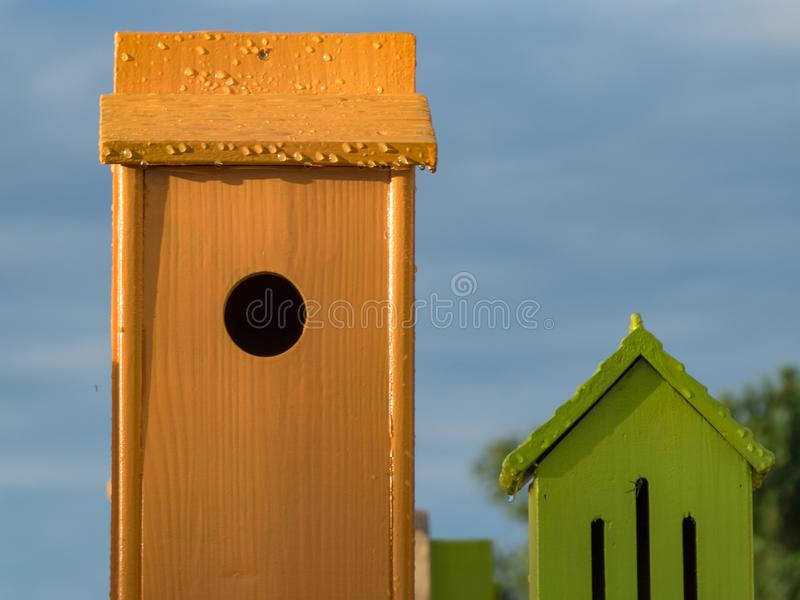 Bird houses decoration in evening sun royalty free stock images