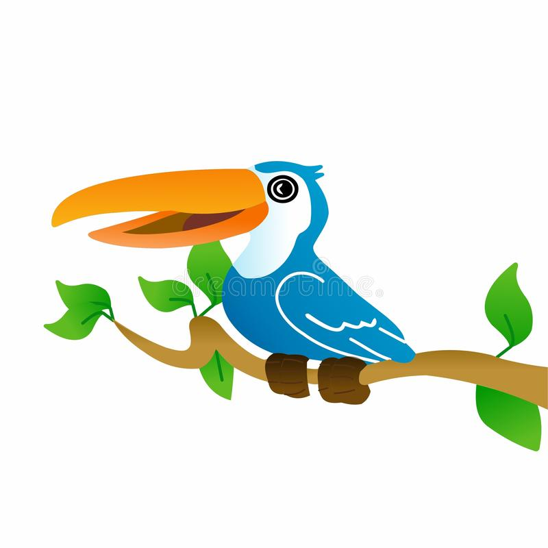 Bird Icon, Cute Cartoon Funny Character with Colorful Wings, Flying in Sky in White Background – Flat Design vector illustration