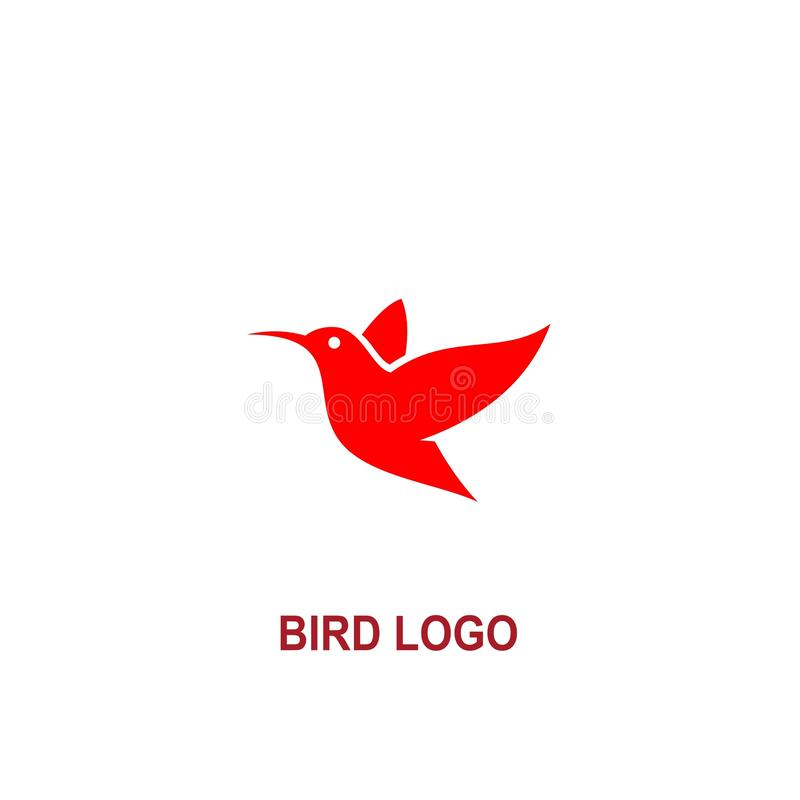 Bird icon logo, with red color royalty free illustration