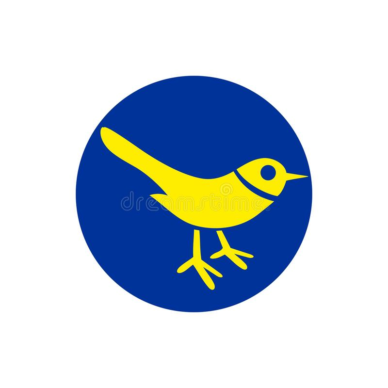 Bird icon. Silhouette isolated on blue circle background. Vector flat hand drawn illustration royalty free illustration