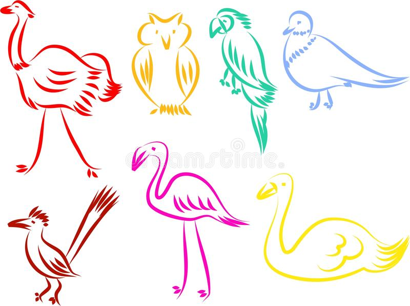 Bird icons. A set of colourful bird line icons isolated on white vector illustration