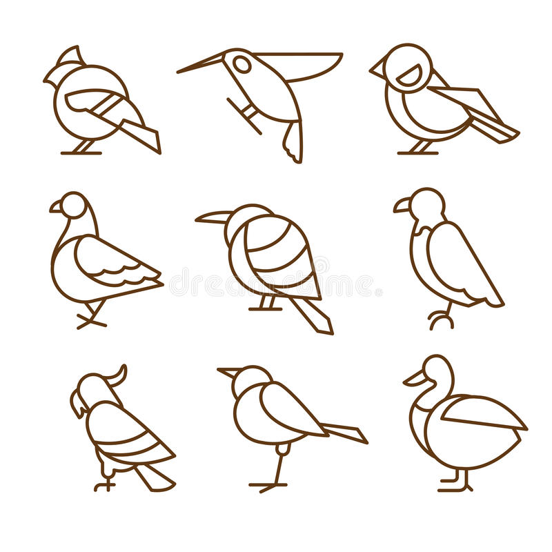 Bird Icons, Thin Line Style, Flat Design royalty free illustration