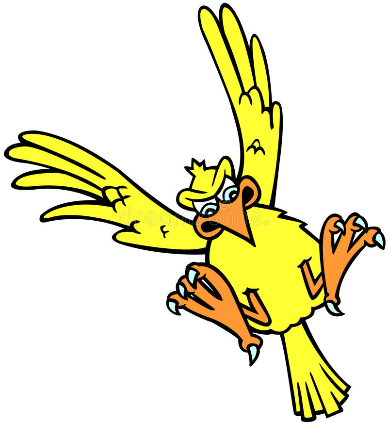 Bird Landing. A cartoon illustration of ayellow bird landing with wings outstretched royalty free illustration