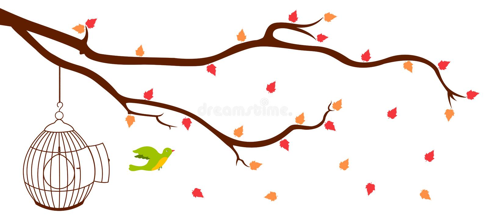 Bird leaving cage from Tree Branch royalty free illustration