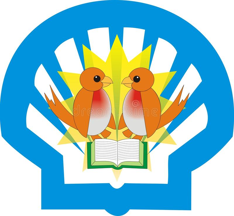 Bird logo design. Educational concept illustration with birds, books and shell background Can be effectively used for logos and other educational concepts vector illustration