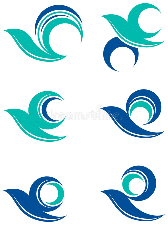 Bird logo set. Line art abstract bird logo set vector illustration