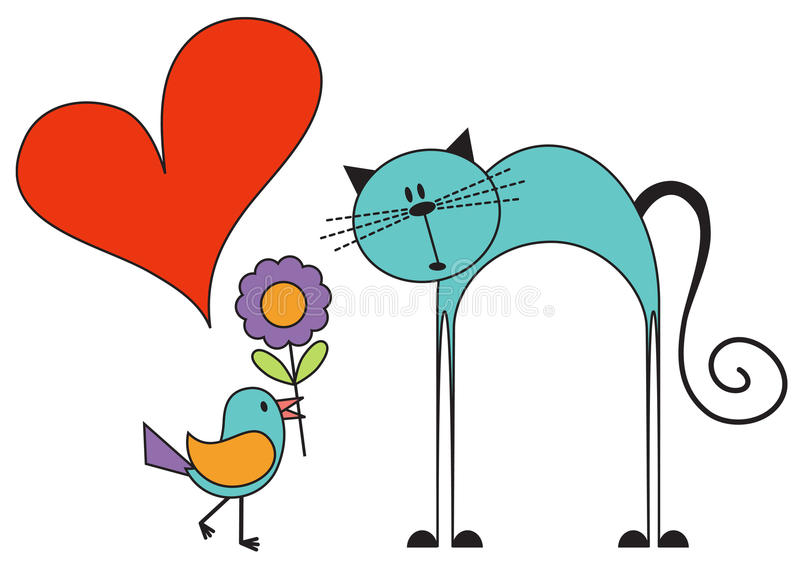 Download Bird in love with a cat stock vector. Image of tomcat - 20690431