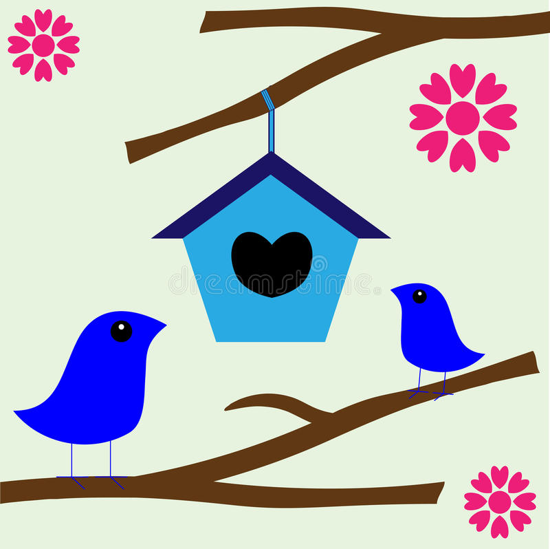 Bird Love Nest New Home vector illustration