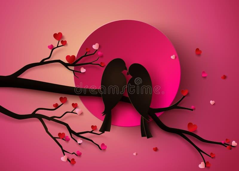 Bird in love vector illustration