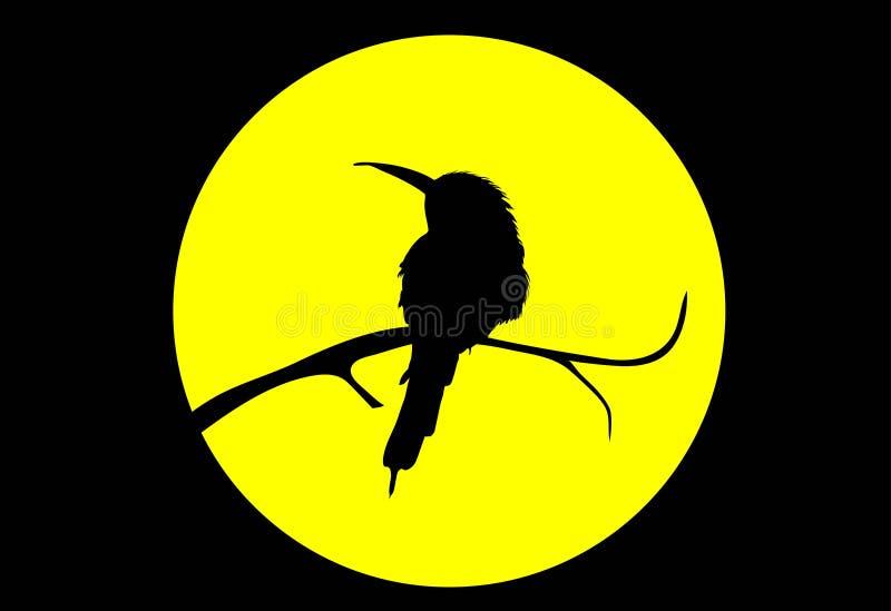 Bird on moon. Vector. royalty free stock photo