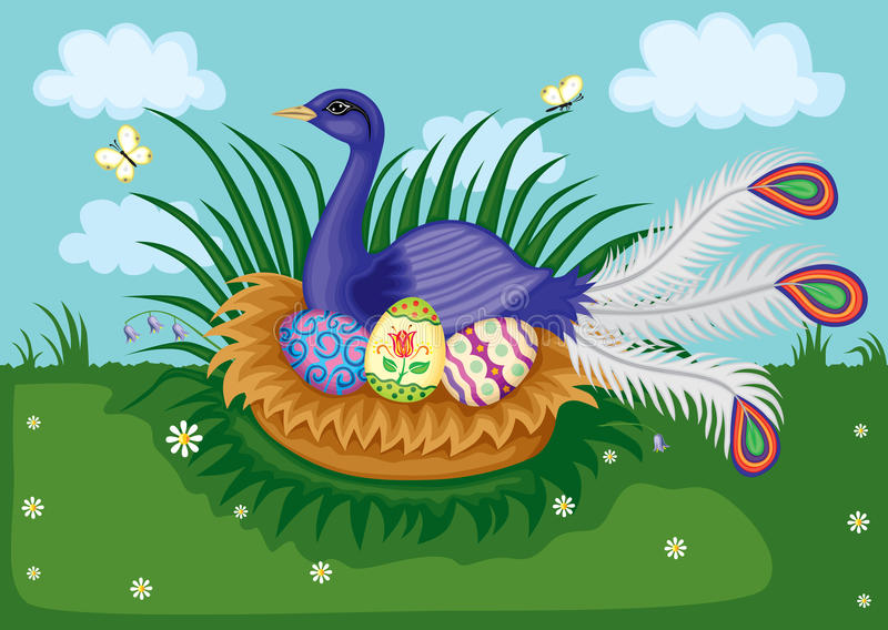 Download Bird in nest stock vector. Image of butterfly, bird, mythology - 23492729