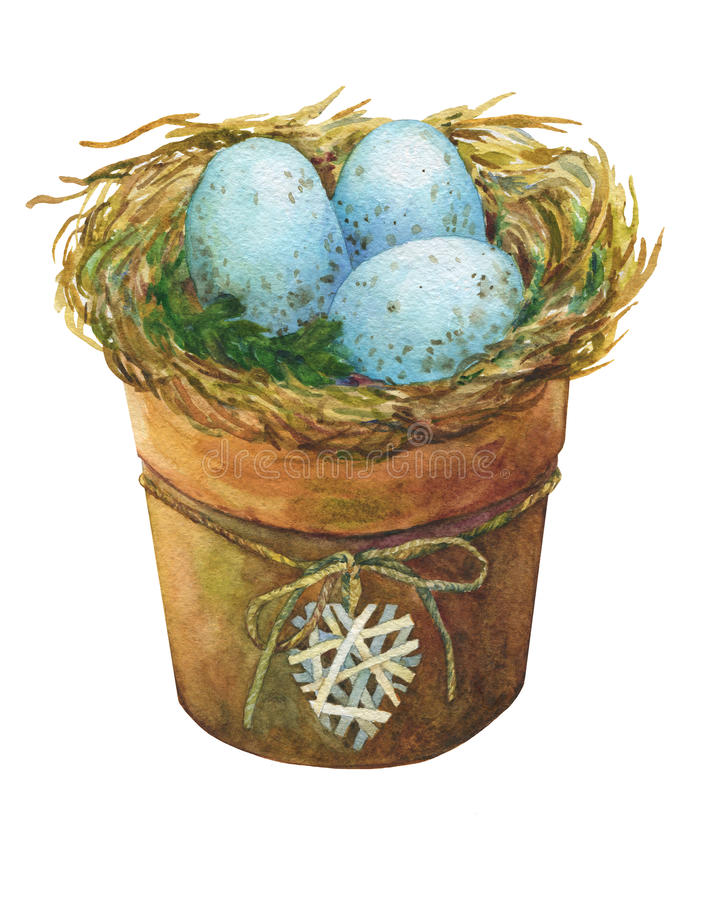 Bird nest with blue eggs in a flowerpot with a decorative heart, homes decor for Easter. Hand-drawn watercolor illustration stock illustration