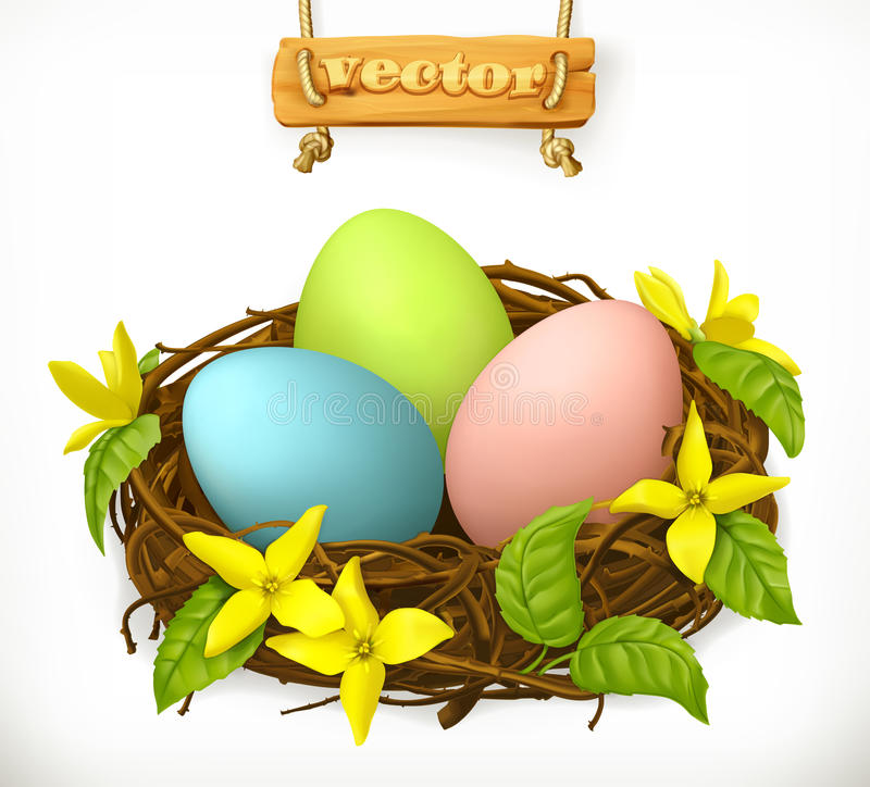 Bird nest, Easter eggs and spring flowers. vector icon stock illustration