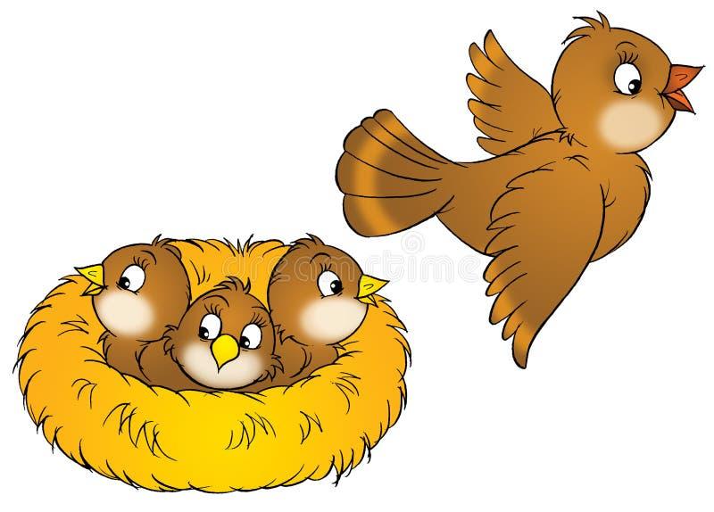 Bird and nestlings stock illustration
