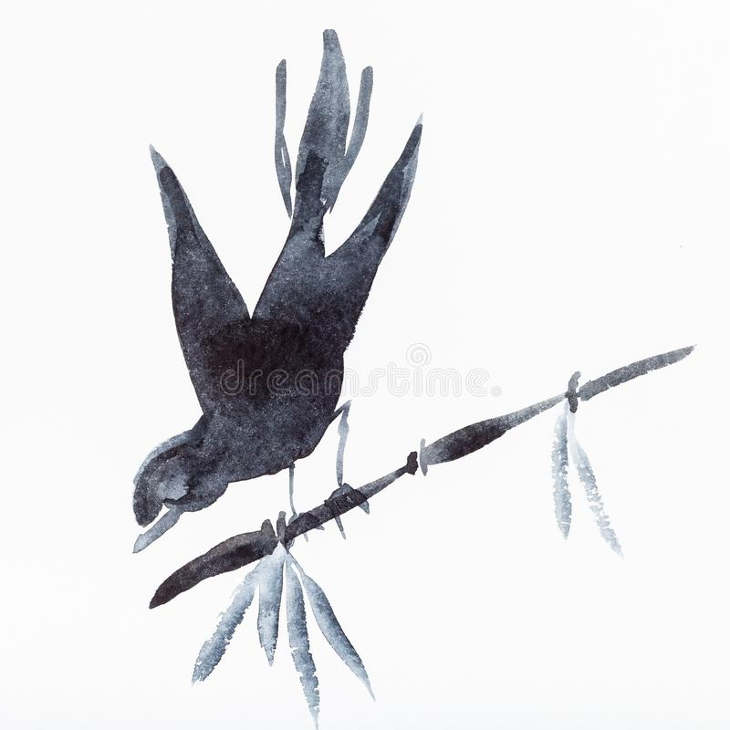 Free Bird On Bamboo Twig Drawn By Black Watercolors Royalty Free Stock Image - 130562596