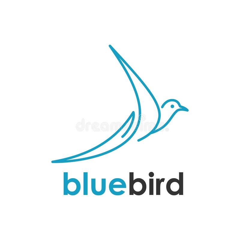 Bird one line logo design inspiration stock illustration