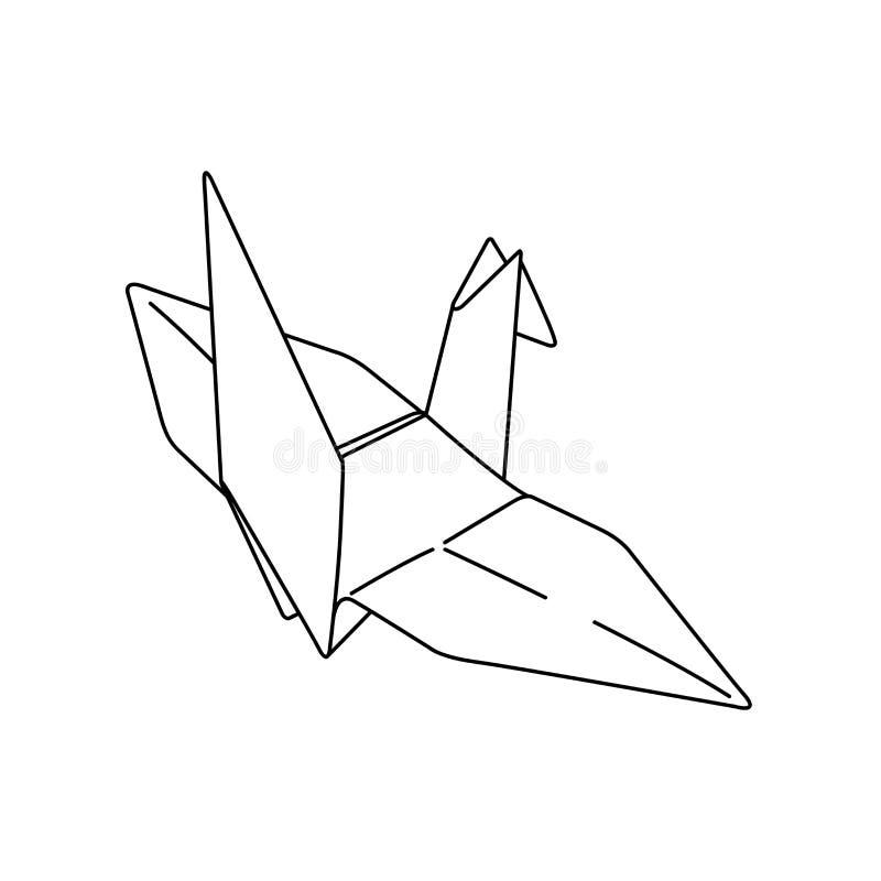 Bird origami paper. simple line illustration vector. tattoo design. minimal geometric design. animal art. isolated tattoo on whit stock illustration