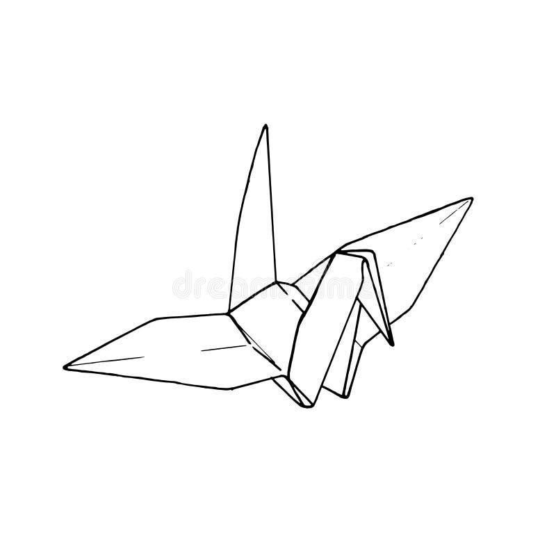 Bird origami paper. simple line illustration vector. tattoo design. minimal geometric design. animal art. isolated tattoo on whit royalty free illustration