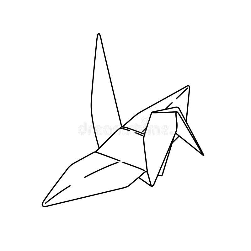 Bird origami paper. simple line illustration vector. tattoo design. minimal geometric design. animal art. isolated tattoo on whit vector illustration