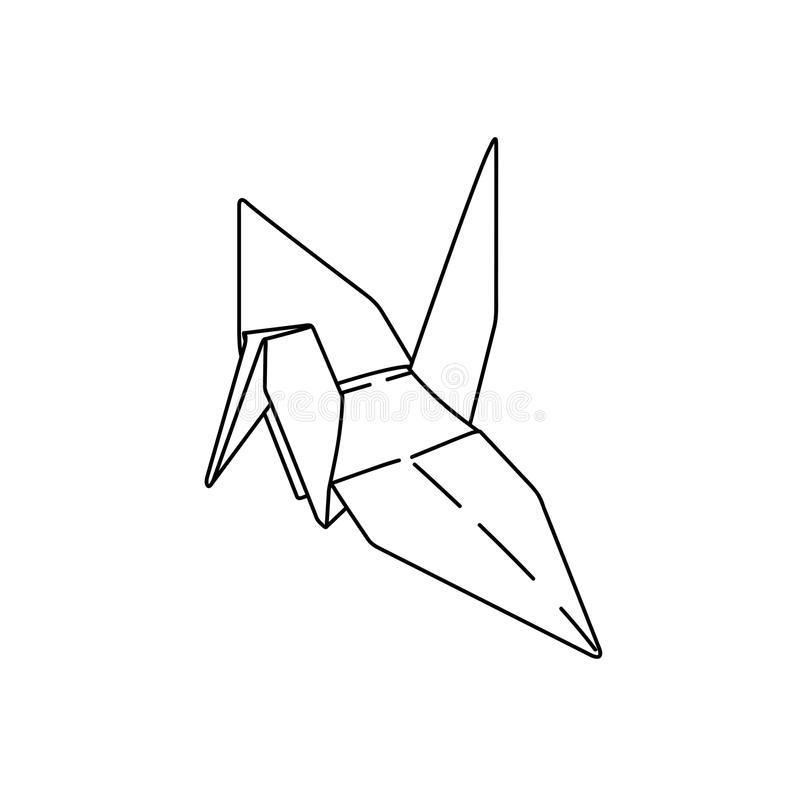 Bird origami paper. simple line illustration vector. tattoo royalty free illustration