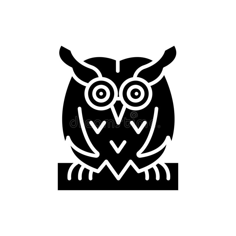 Bird owl black icon concept. Bird owl flat vector symbol, sign, illustration. stock illustration