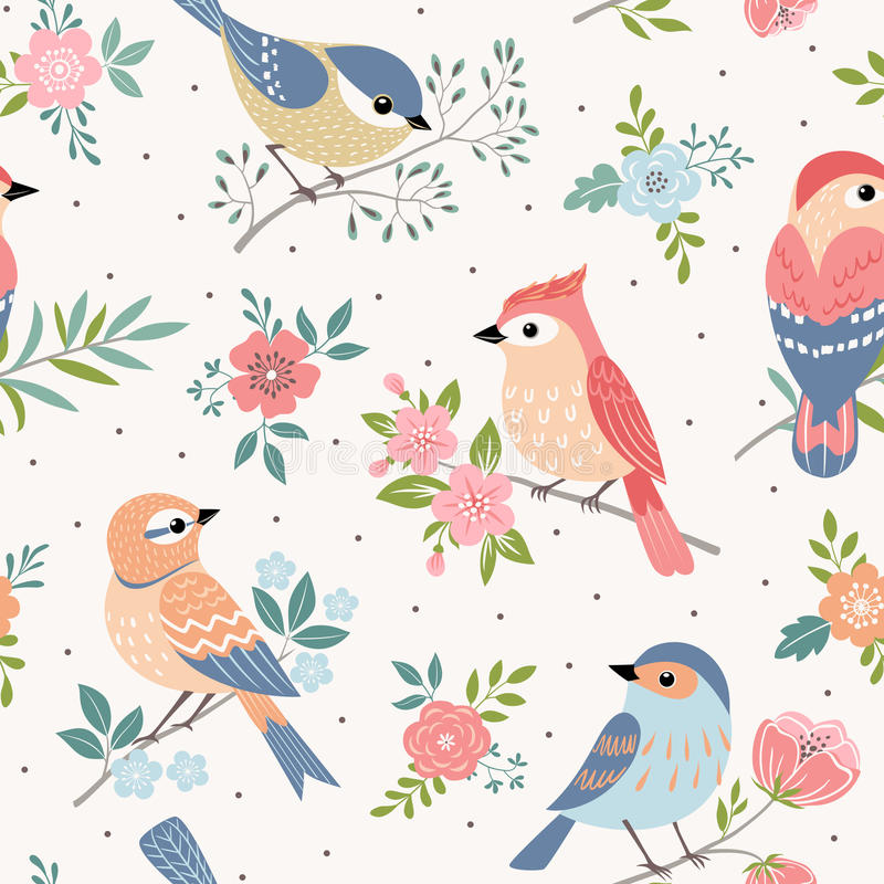 Bird pastel pattern. Seamless pastel pattern of birds with floral elements on dot background royalty free illustration