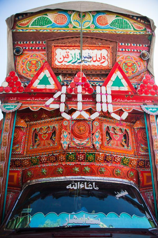 Front side of a Pakistani decorated truck royalty free stock photos
