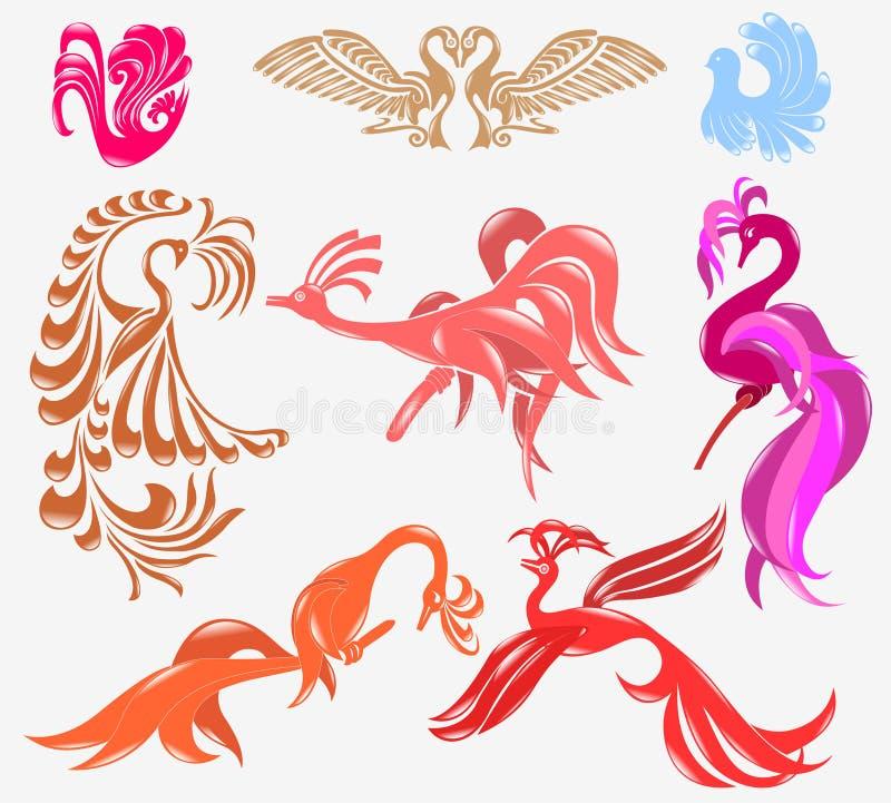 Bird phoenix glossy icon royalty free illustration