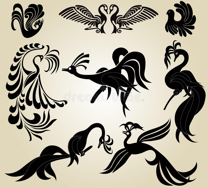 Bird phoenix slhouette royalty free illustration