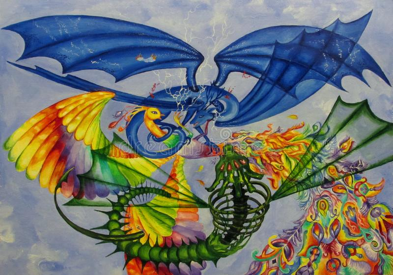 A bird with rainbow plumage, a blue dragon with four wings and a monster beating in the sky royalty free stock photo