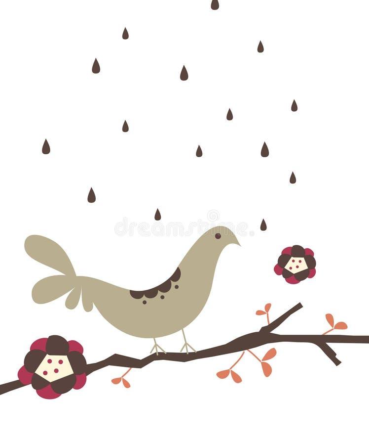 Bird on rainy days vector illustration