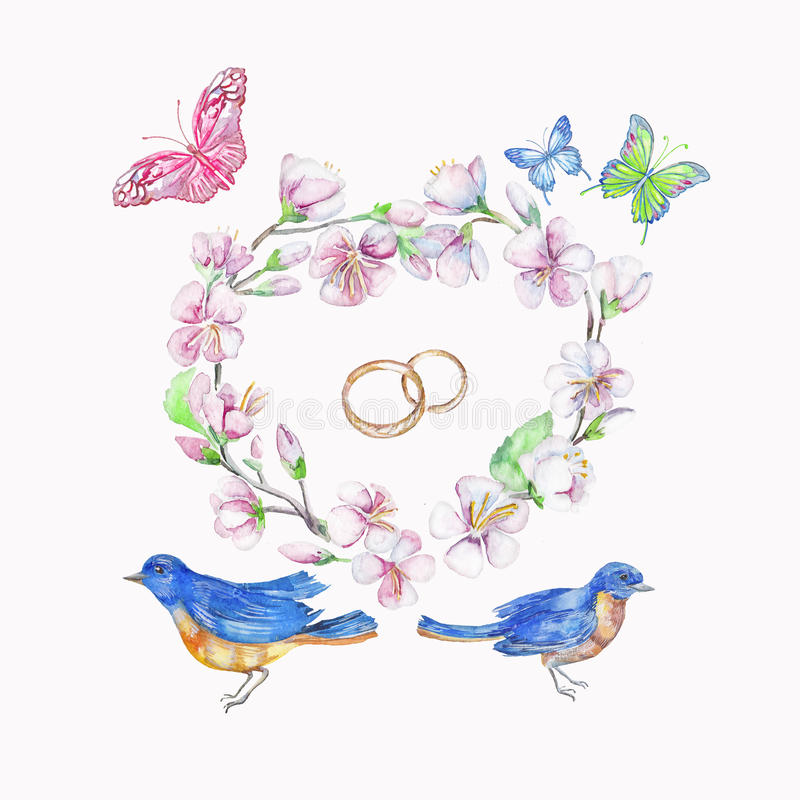 Bird, rings, cherry, apple, flowers, butterfly. Watercolor isolated object. royalty free illustration