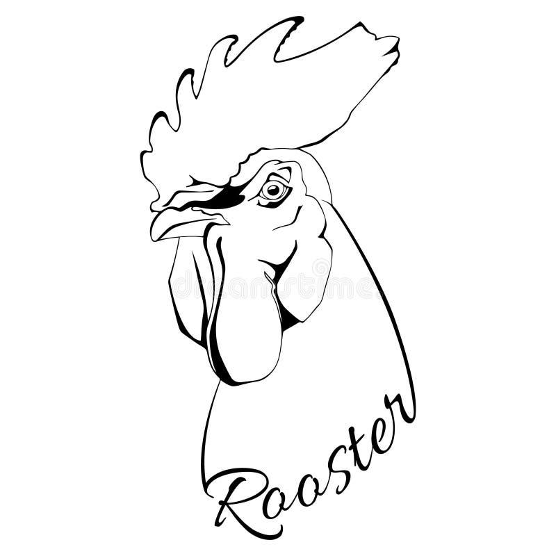 Bird Rooster head stock vector. Illustration of black ...