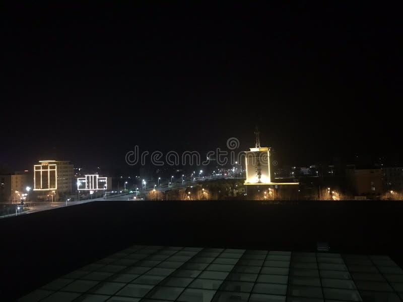 Bird& x27; s-öga sikt av den nya staden & x28en; nattview& x29; arkivfoton