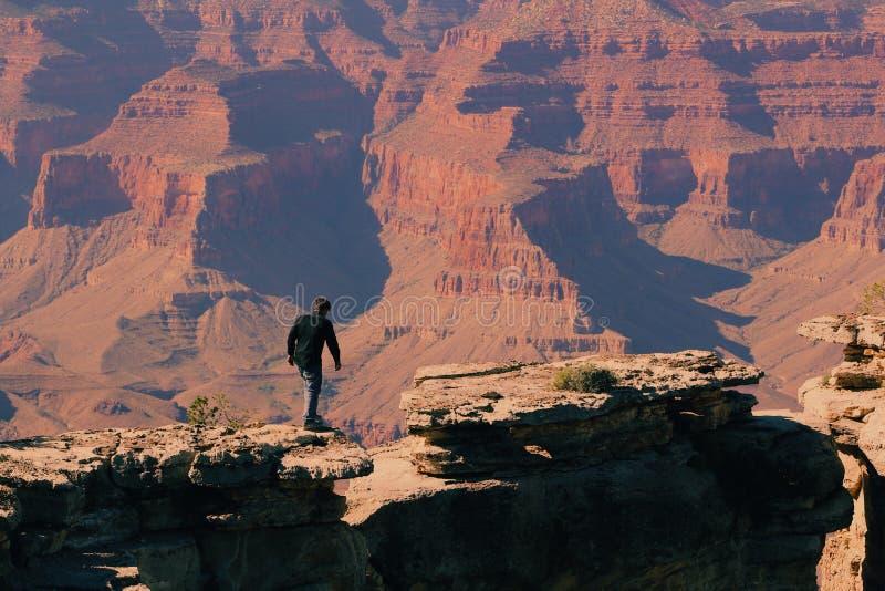 Bird' s-Auge-Ansicht eines Mannes auf Grand Canyon -Berg lizenzfreies stockfoto