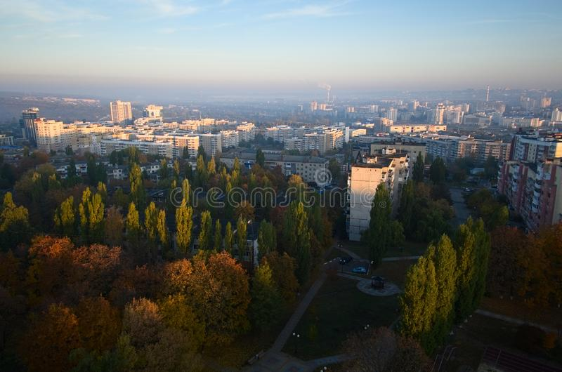 Belgorod cityscape aerial view in the morning. Bird`s eye city view in the morning. Belgorod cityscape aerial view stock image