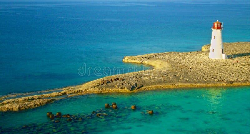 Bird's Eye Photography of White Lighthouse on Island stock photo