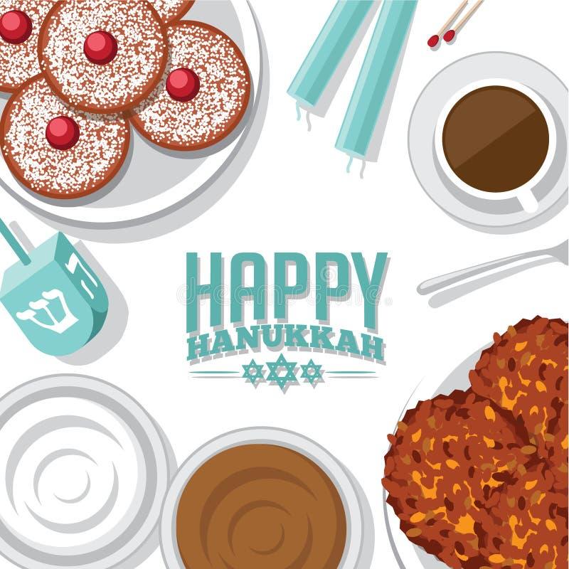 Bird's eye view background of Jewish holiday Hanukkah. With menorah candles, donuts, dreidel, potato pancakes (latkes), applesauce and sour cream vector illustration
