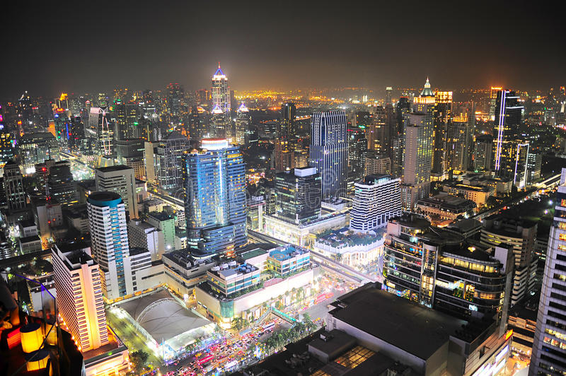 Download Bangkok at night stock image. Image of over, business - 30077275