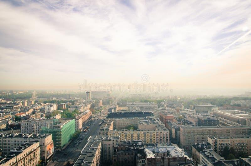 Bird's Eye View of City stock image
