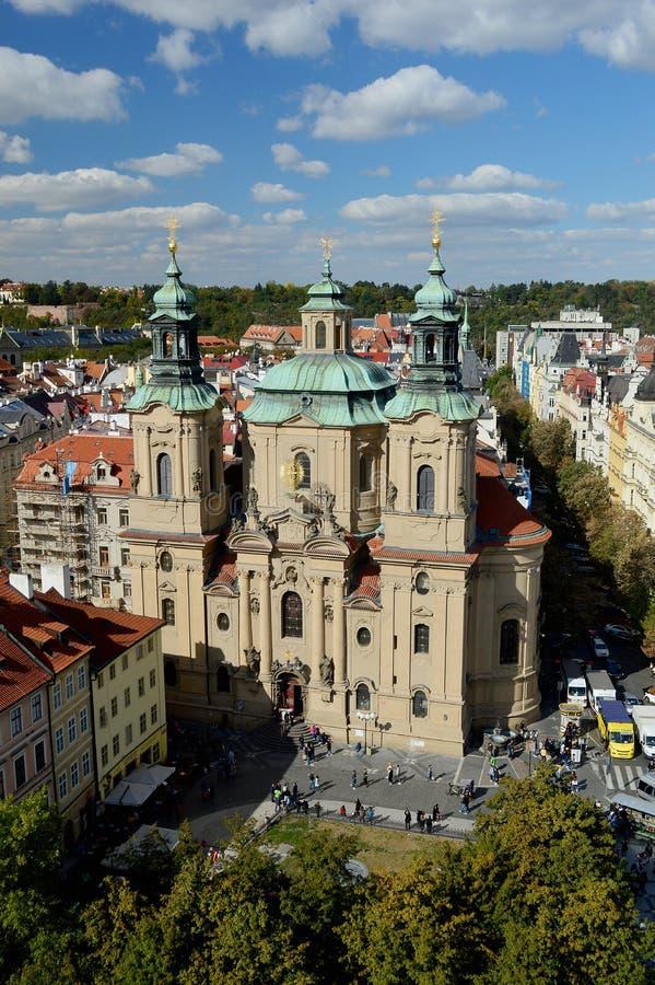 Bird`s eye view of the city of Prague - St Nicholas Church royalty free stock photography