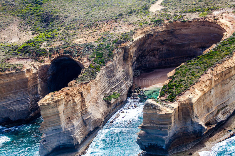 Bird's-eye view of coast in Port Campbell National Park. Australia royalty free stock photography