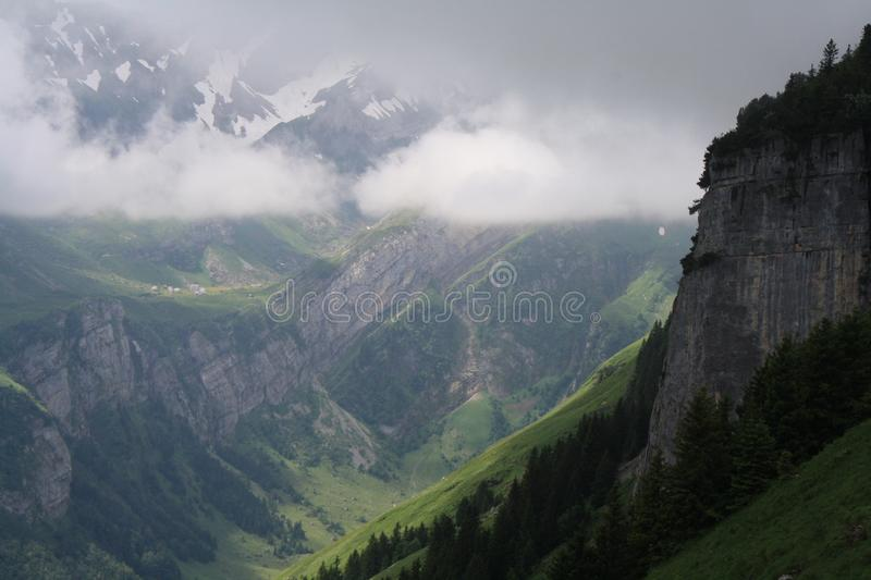 Bird's Eye View of Foggy Landscape royalty free stock photography