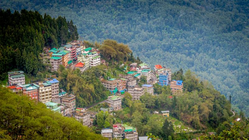 Bird`s eye view of Gangtok, the capital city of Sikkim, India stock images