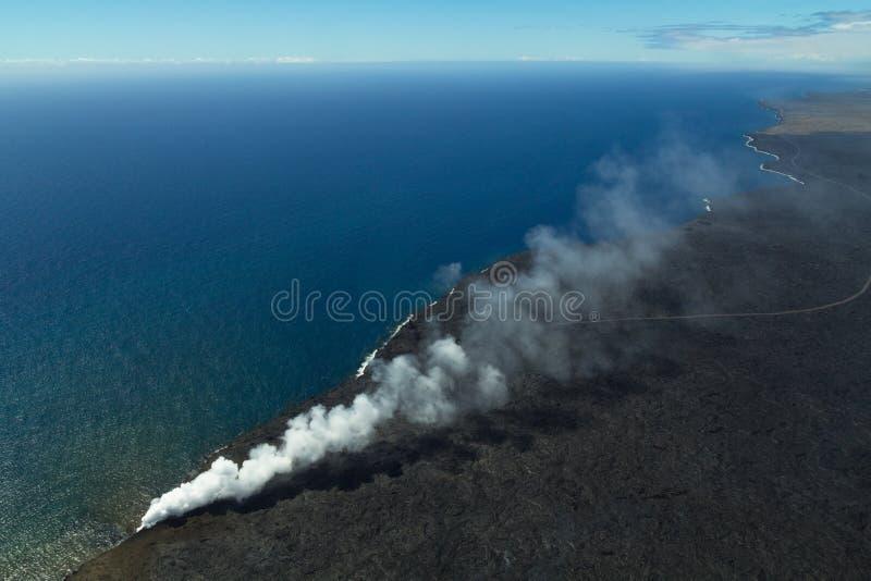 Bird`s eye view of Hawaii coast at volcano National Park stock photos